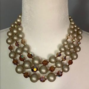 Vintage 3 strand pearl and rhinestone necklace